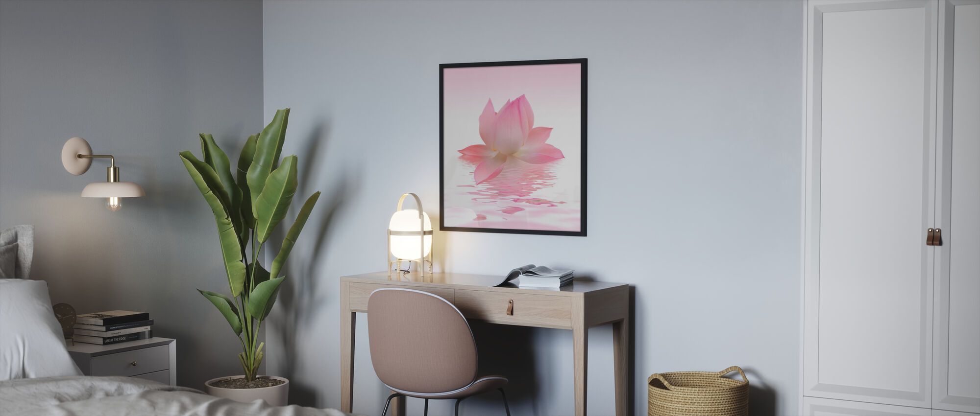 Pink Lotus - Framed print - Bedroom
