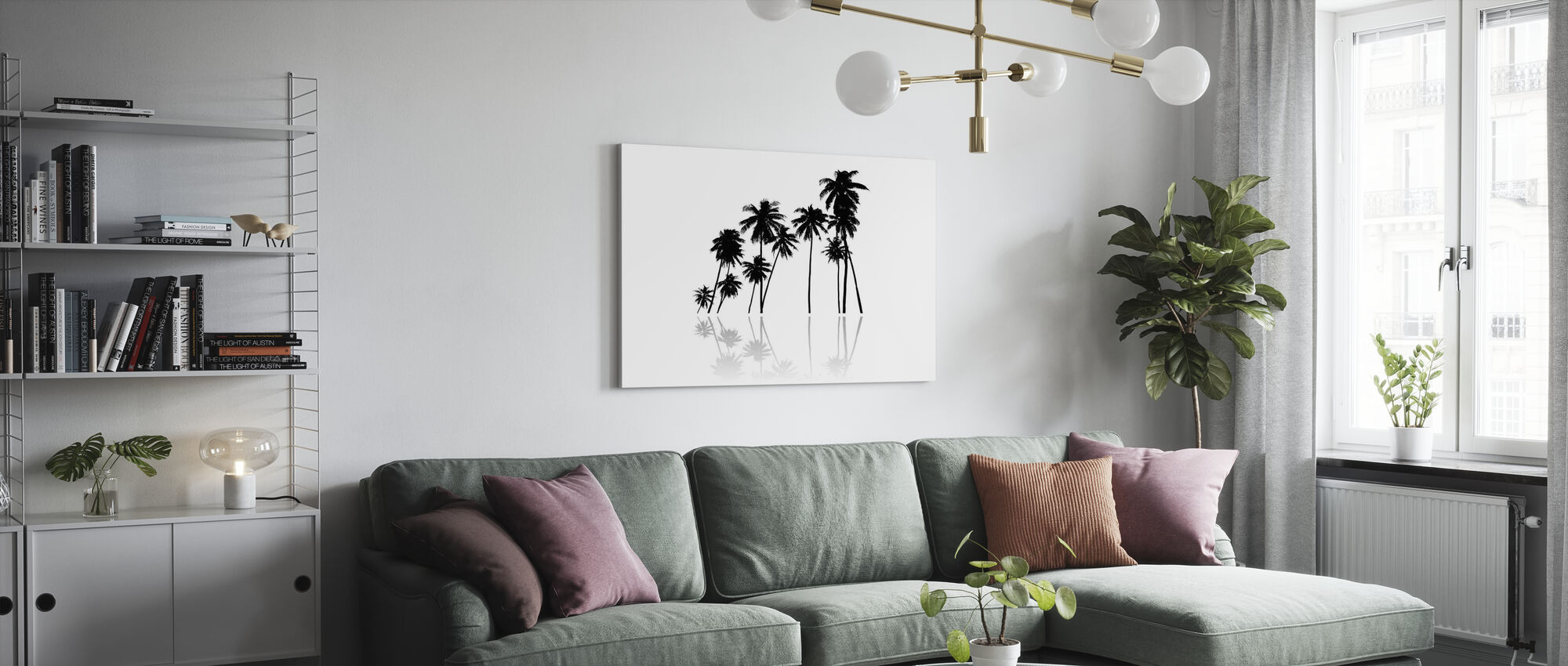 Black Palms - Canvas print - Living Room
