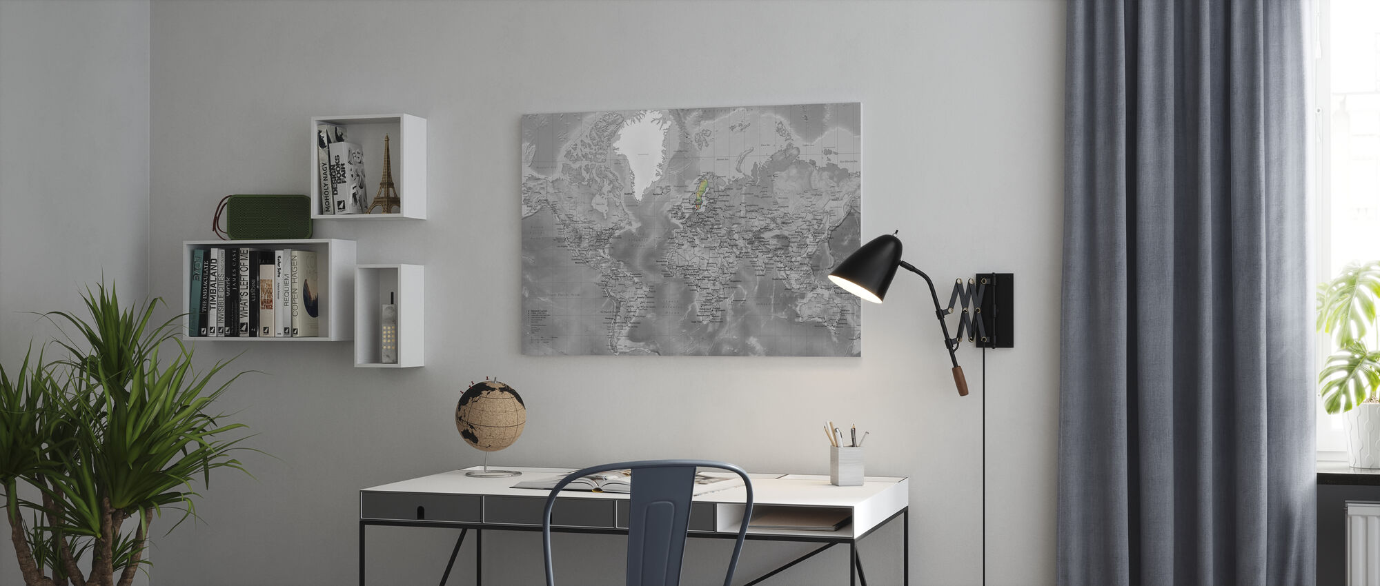 World Map - Detailed with Roads - Colorsplash - Canvas print - Office