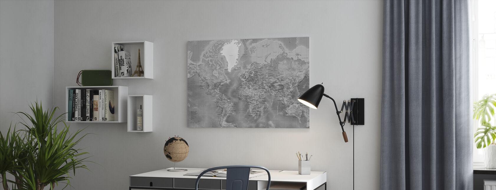 Wereldkaart - Gedetailleerd met Wegen - Grijs - Canvas print - Kantoor