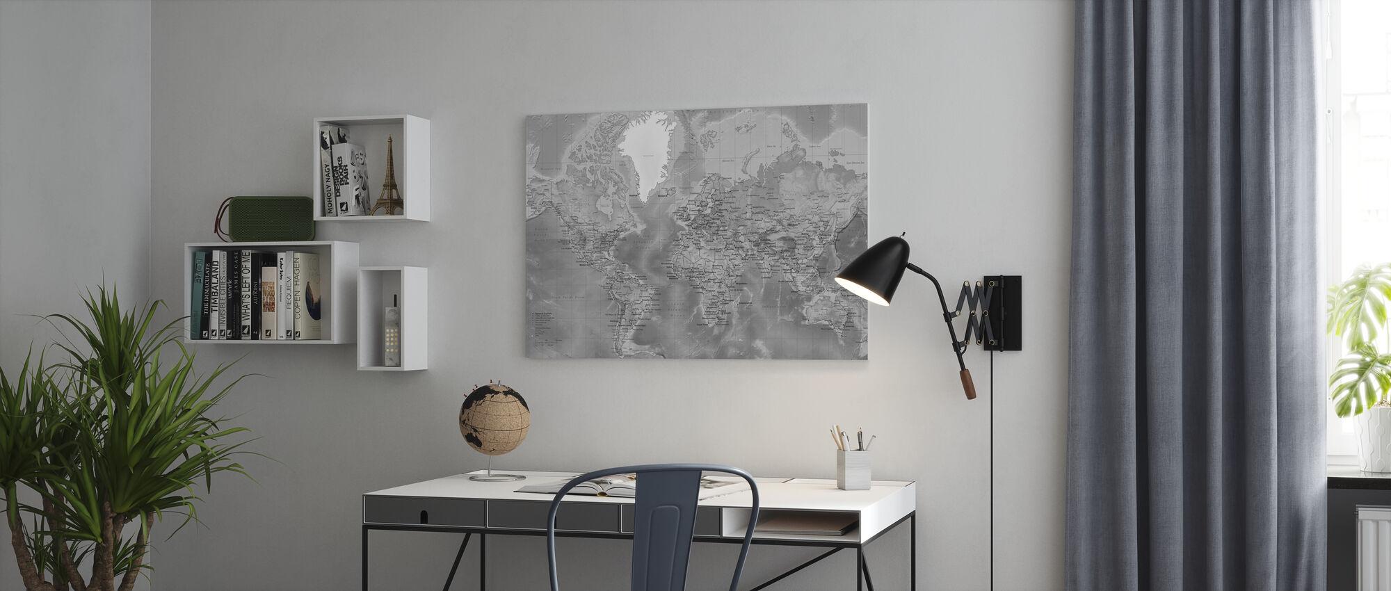 Weltkarte - Detailliert mit Straßen - Grau - Leinwandbild - Büro