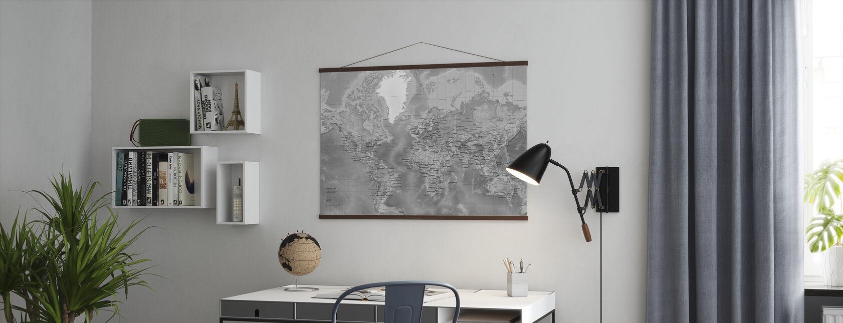 Carte du monde - Détaillée avec des routes - Gris - Affiche - Bureau