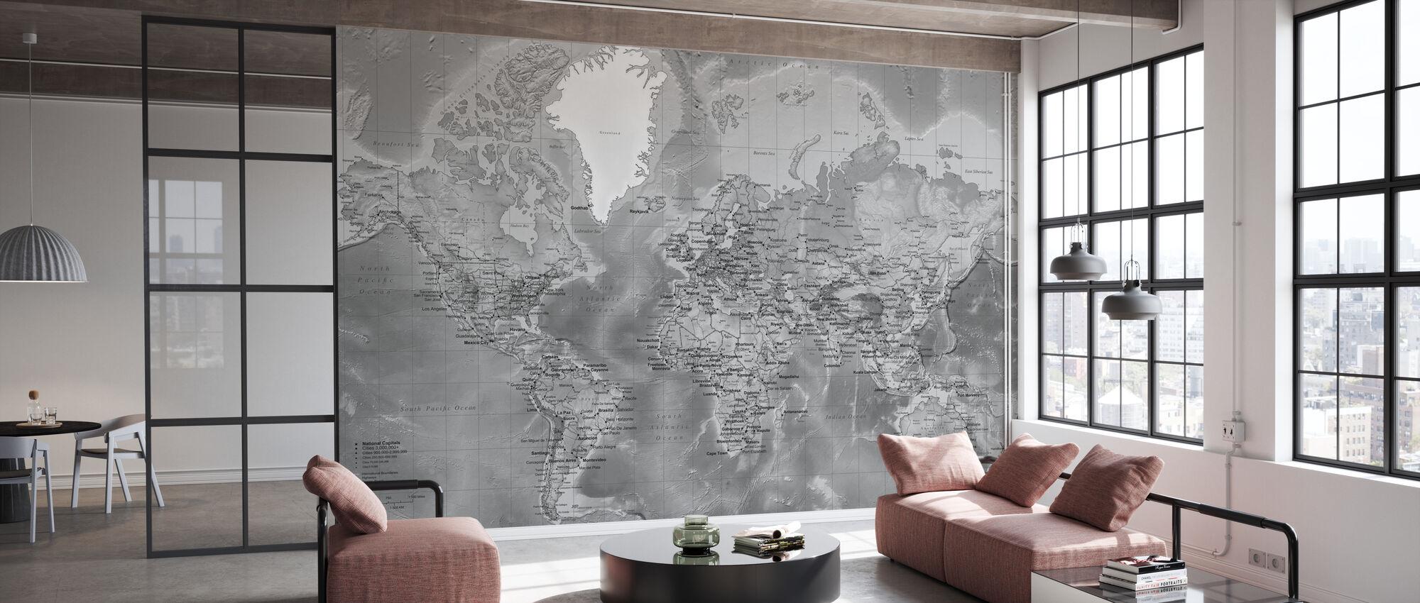 Weltkarte - Detailliert mit Straßen - Grau - Tapete - Büro