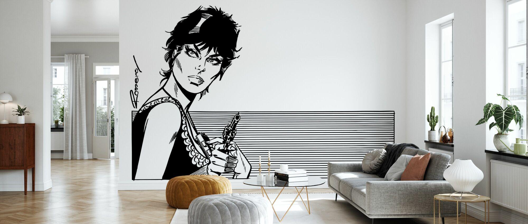 Modestie avec un pistolet - Papier peint - Salle à manger