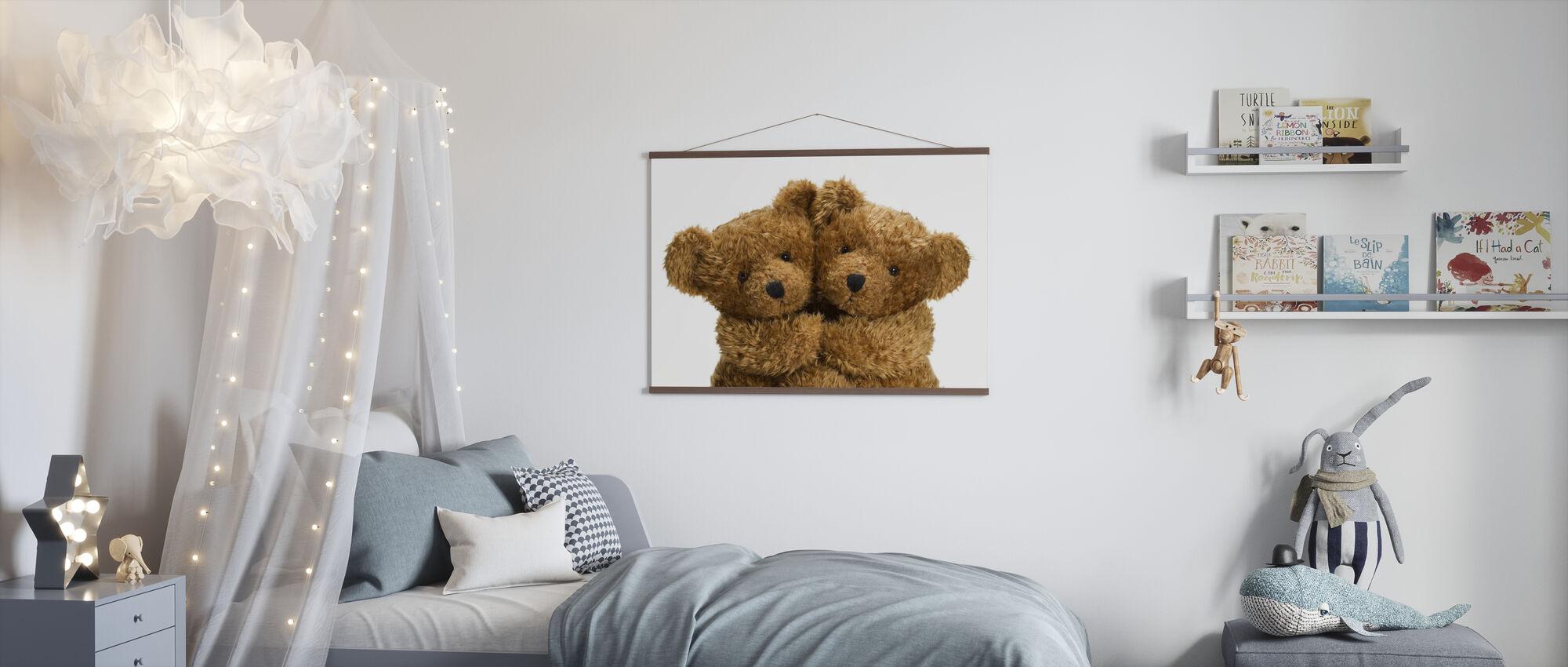 Cuddling Teddy Bears - Poster - Kids Room