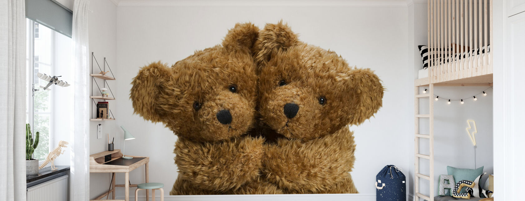 Cuddling Teddy Bears - Wallpaper - Kids Room