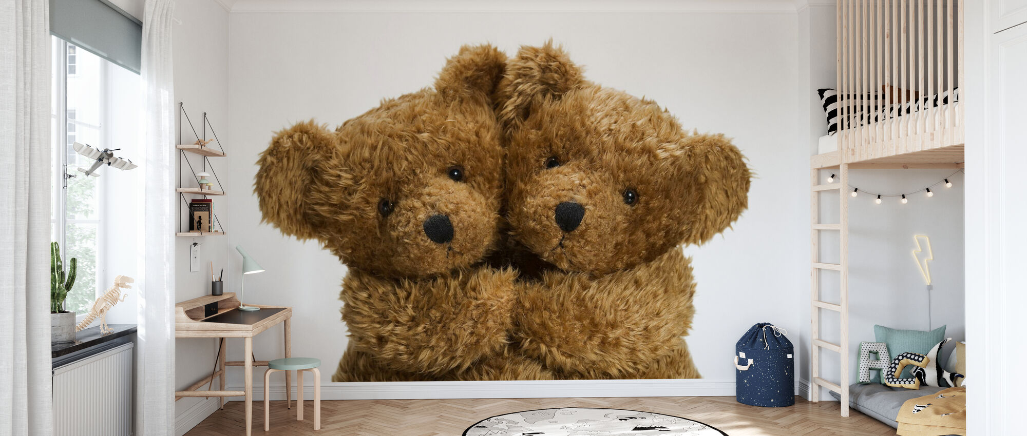 Cuddling Teddy Bears - Wallpaper - Kids Room
