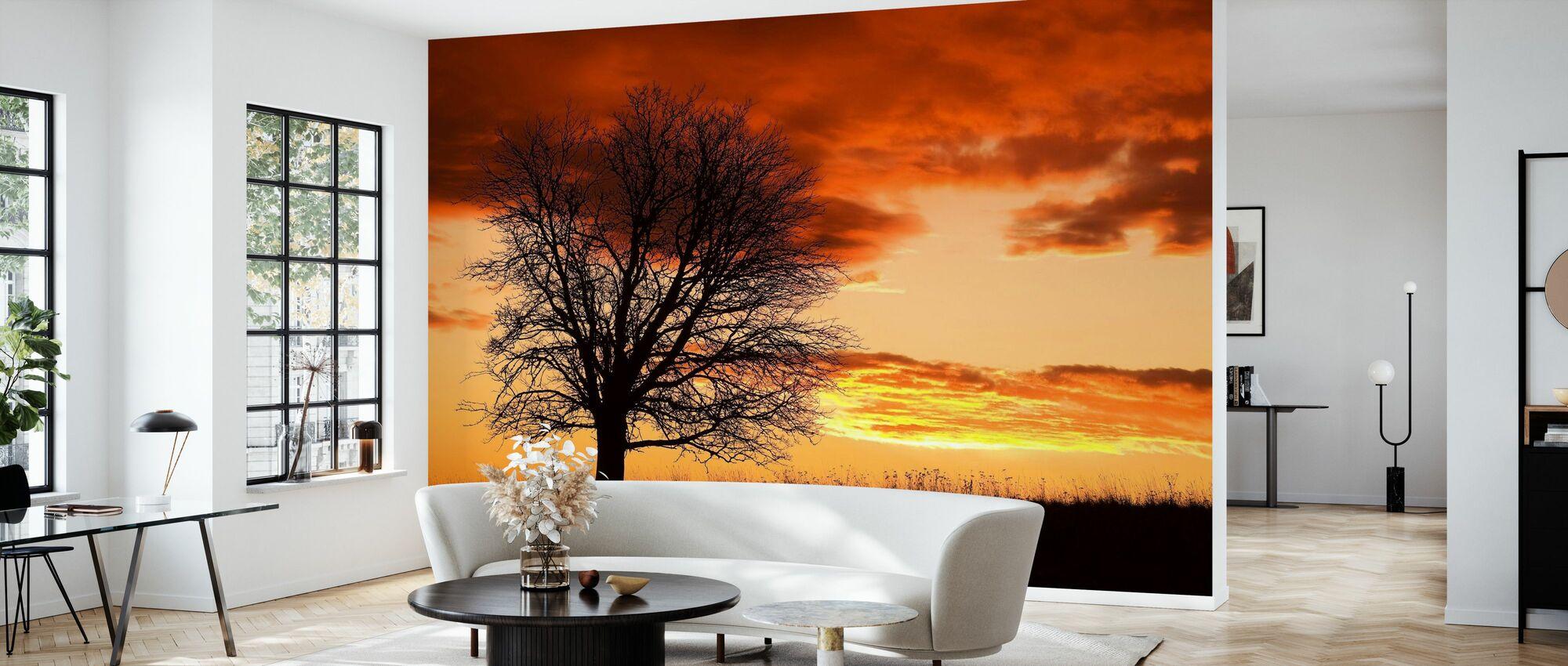 Boom in Sunset - Behang - Woonkamer