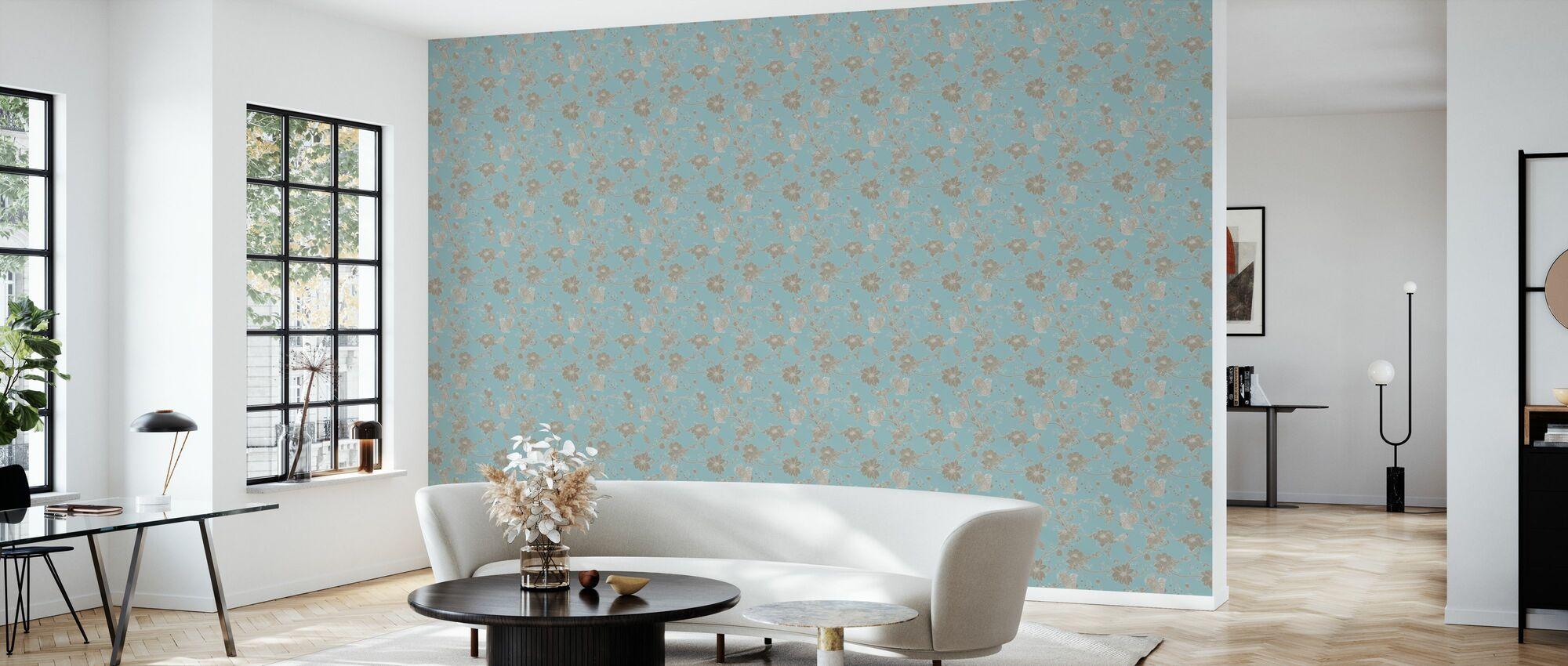 Botanica - Turquoise - Wallpaper - Living Room