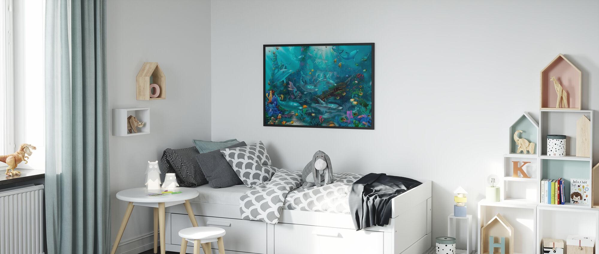 Dolphin Treasures - Framed print - Kids Room