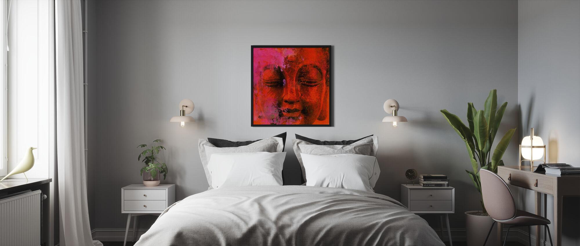 Röd Buddha - Inramad tavla - Sovrum