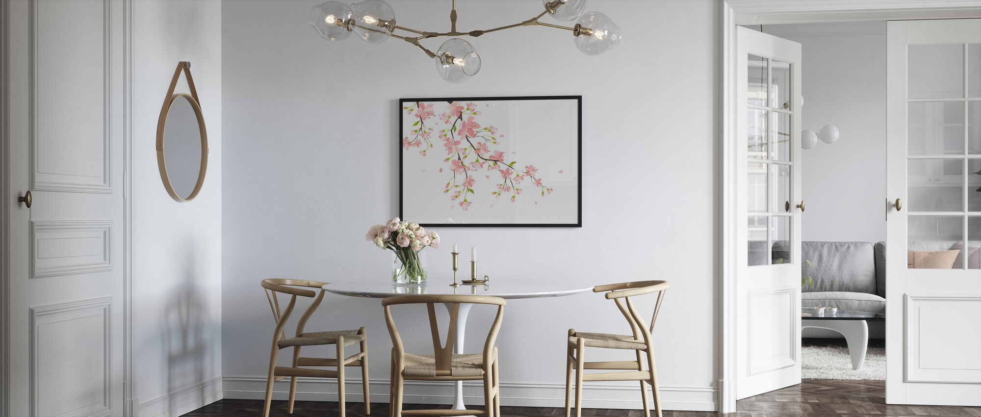 Branch with Pink Flowers - Framed print - Kitchen