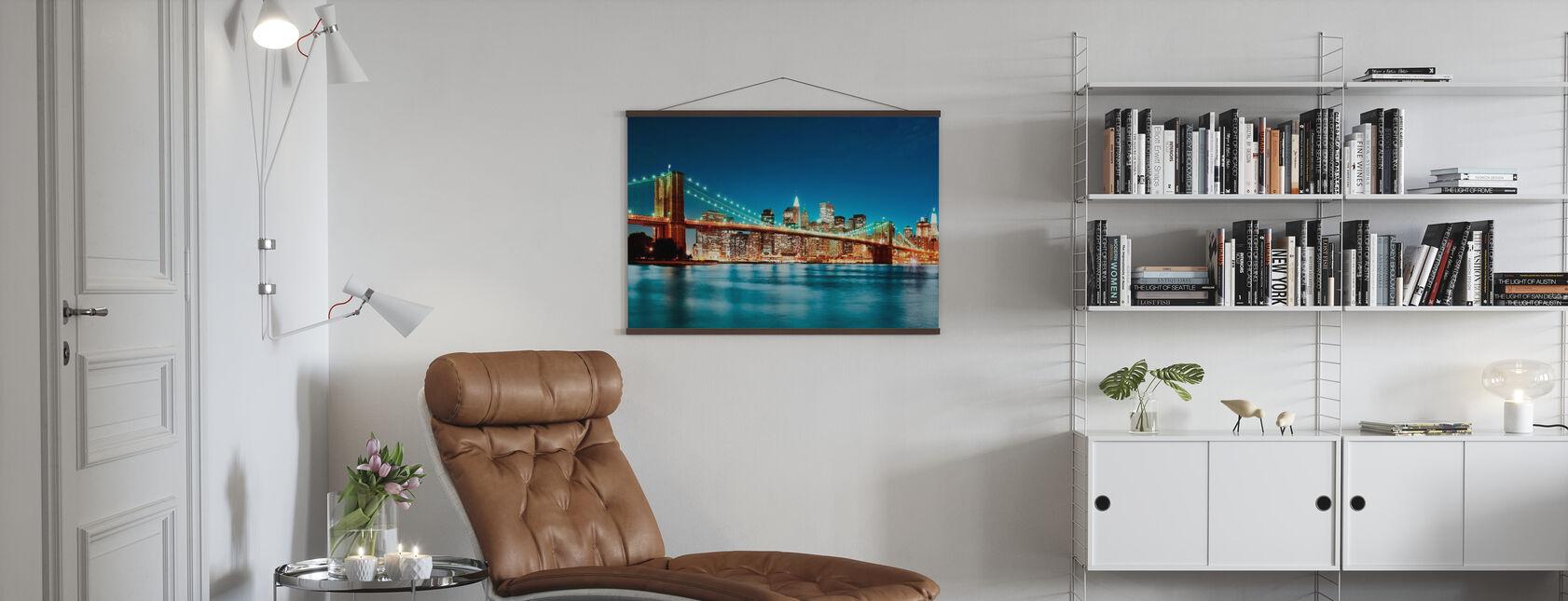 Bright Brooklyn Bridge - Poster - Living Room