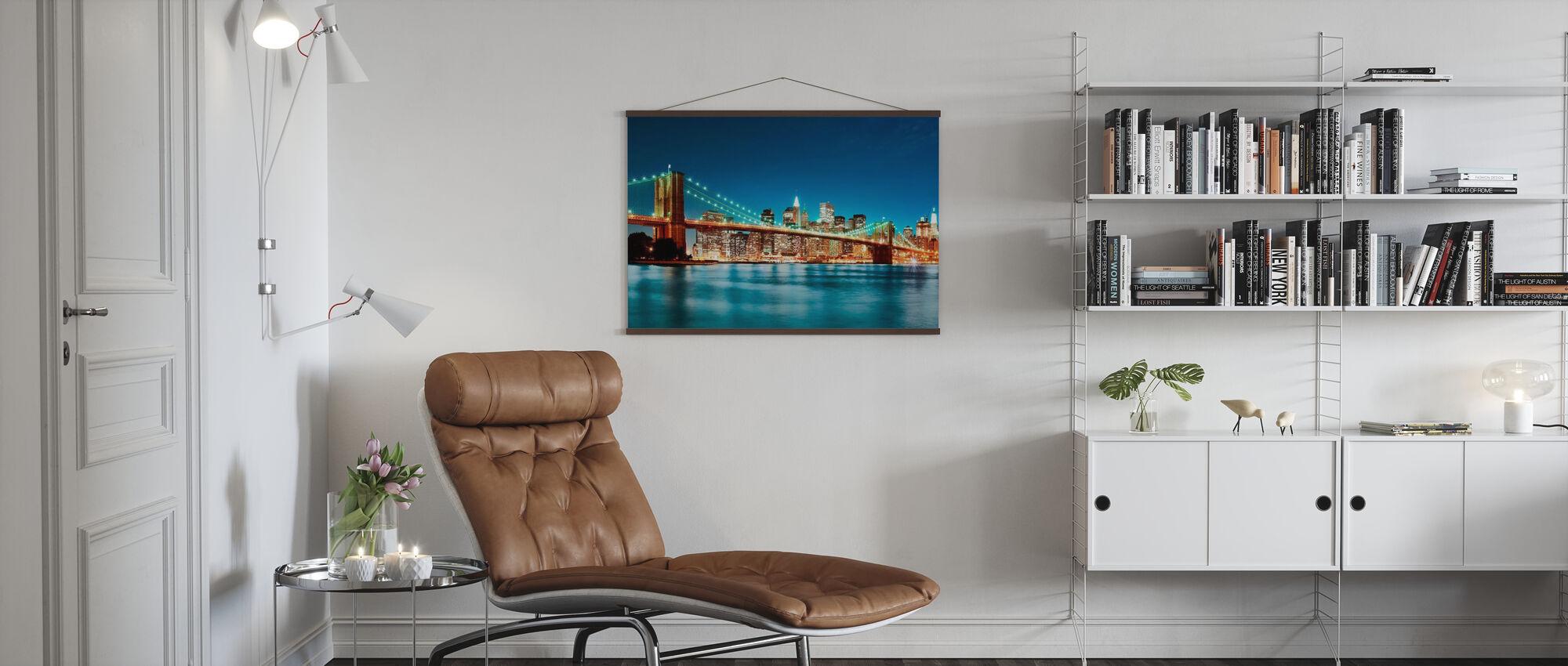 Bright Brooklyn Bridge - Poster - Woonkamer