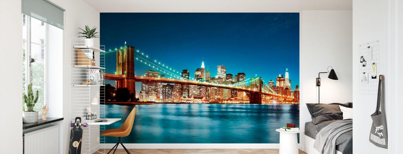Bright Brooklyn Bridge - Wallpaper - Kids Room