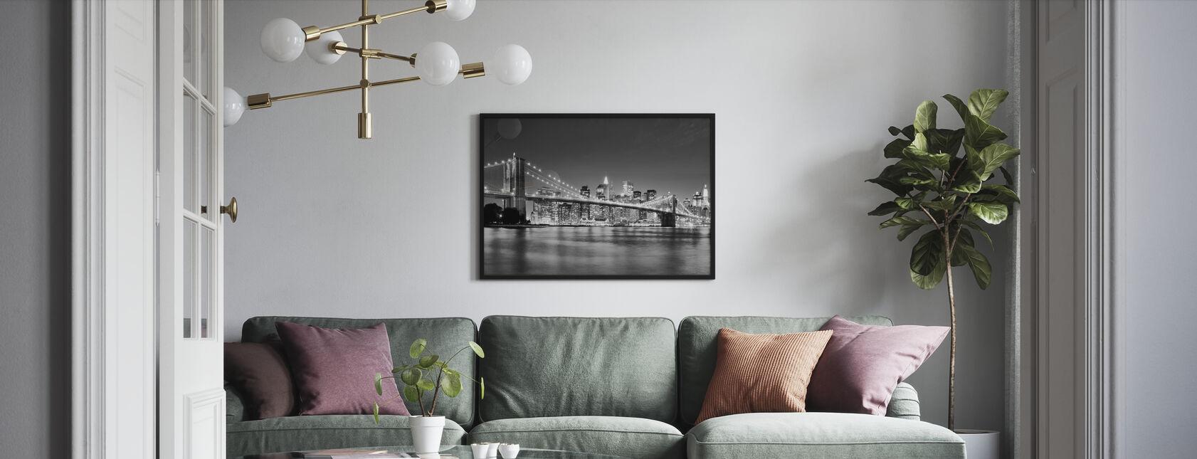 Bright Brooklyn Bridge - b/w - Poster - Vardagsrum