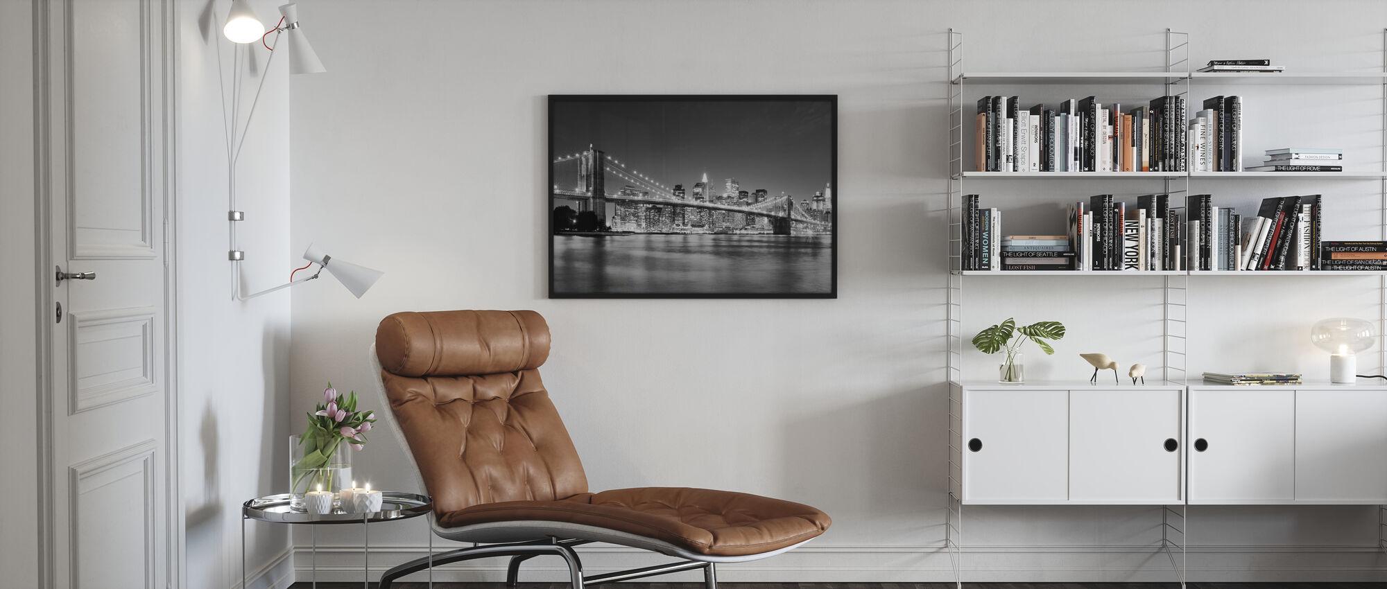 Bright Brooklyn Bridge - b/w - Inramad tavla - Vardagsrum