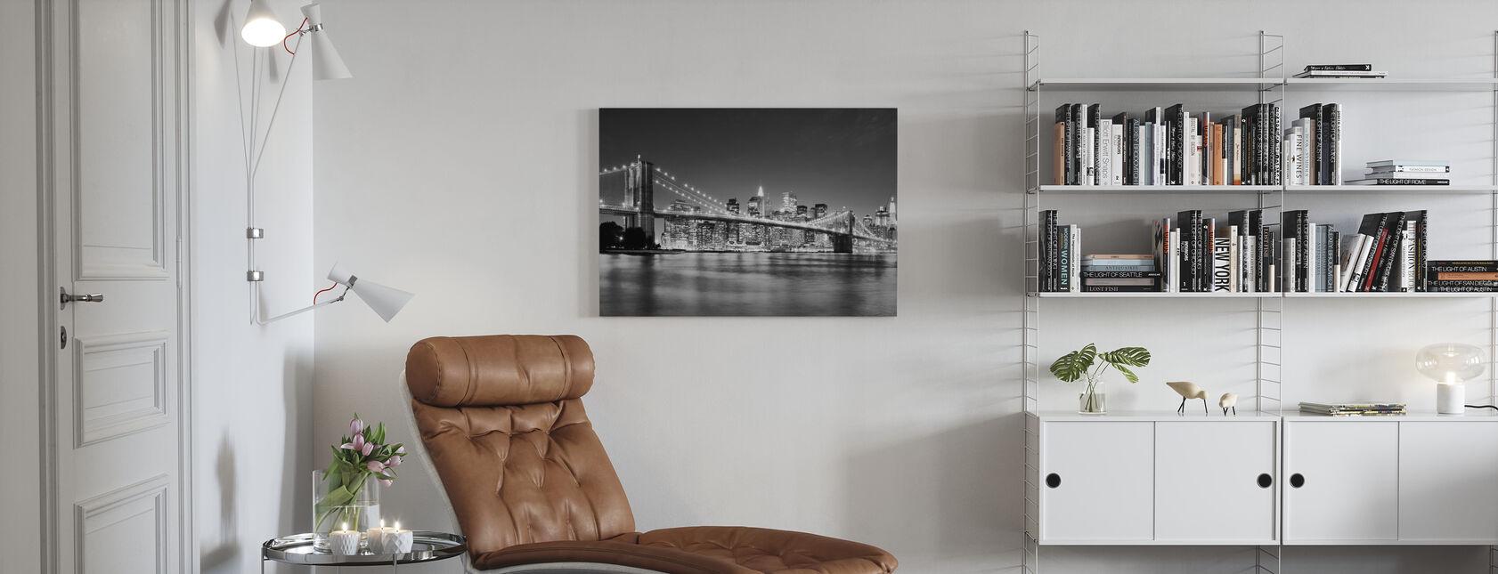 Bright Brooklyn Bridge - b/h - Billede på lærred - Stue