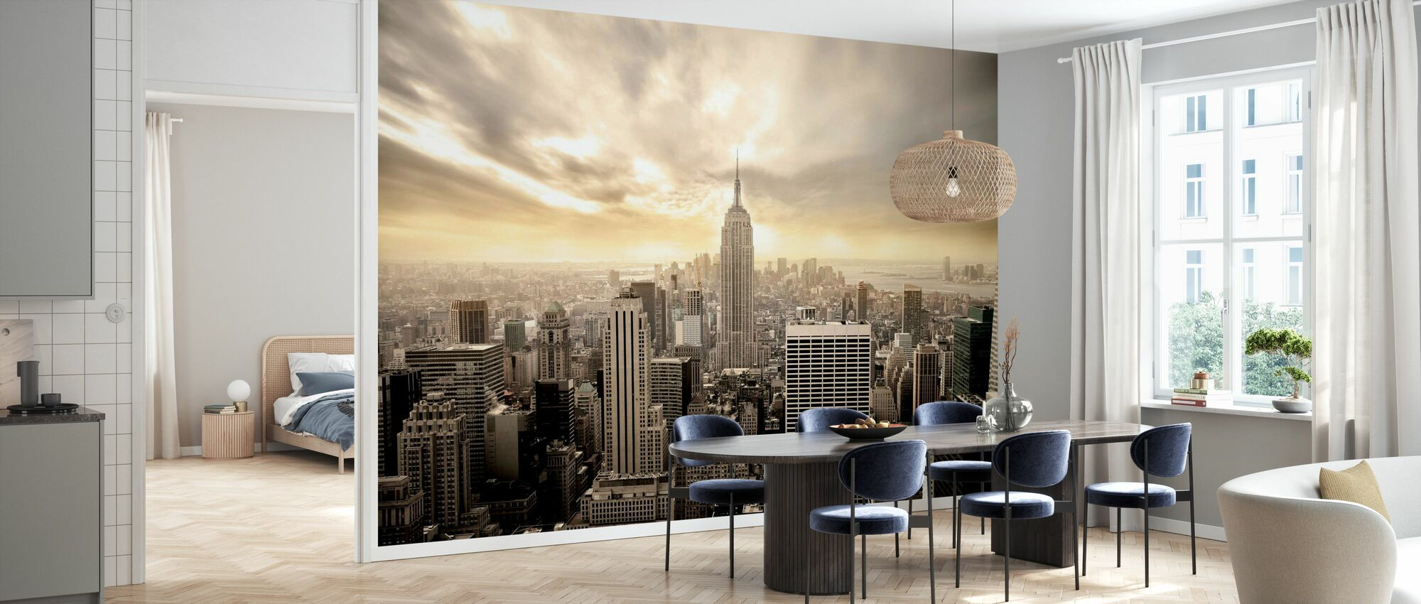 Enchanting New York - Yellow Sky - Wallpaper - Kitchen