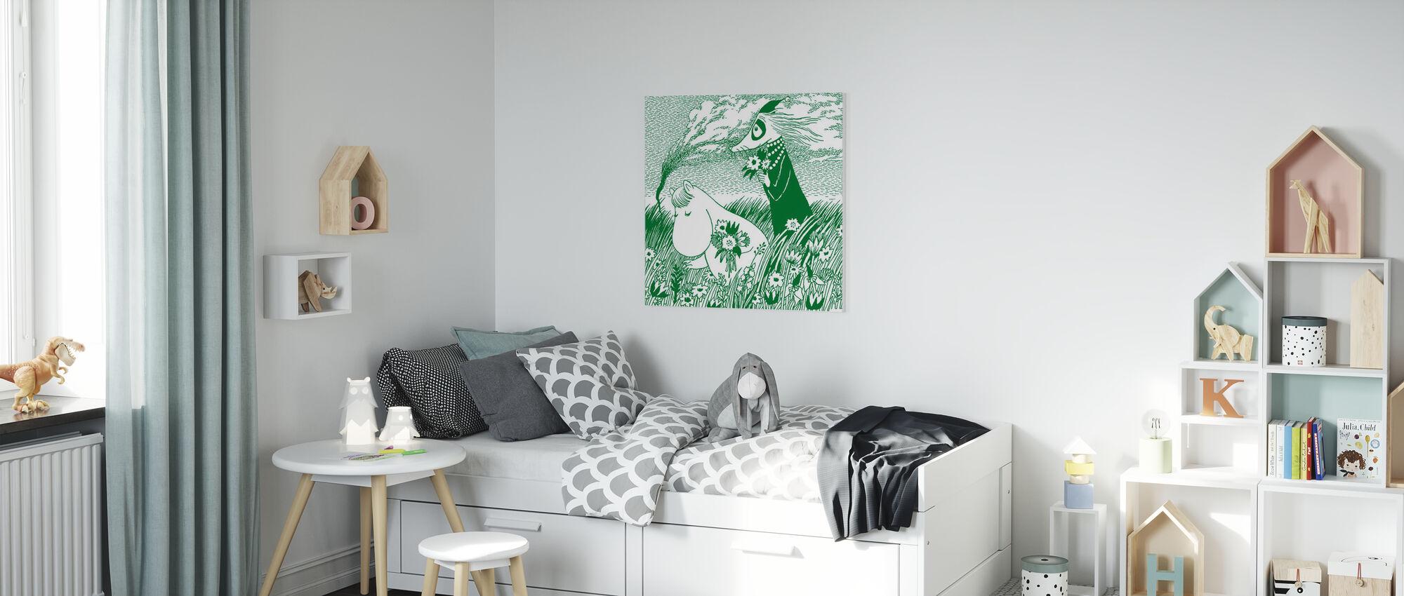 Moomin - Vert prairie - Impression sur toile - Chambre des enfants