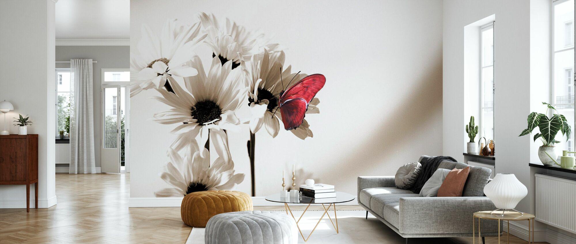 Julia Butterfly - Deep Red - Wallpaper - Living Room