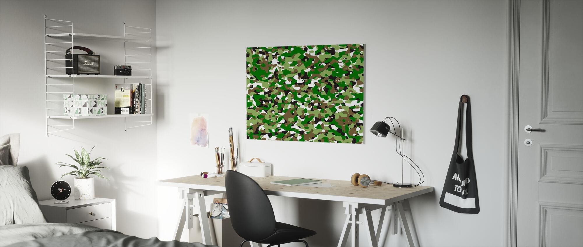 Kamouflage - Grön - Canvastavla - Barnrum