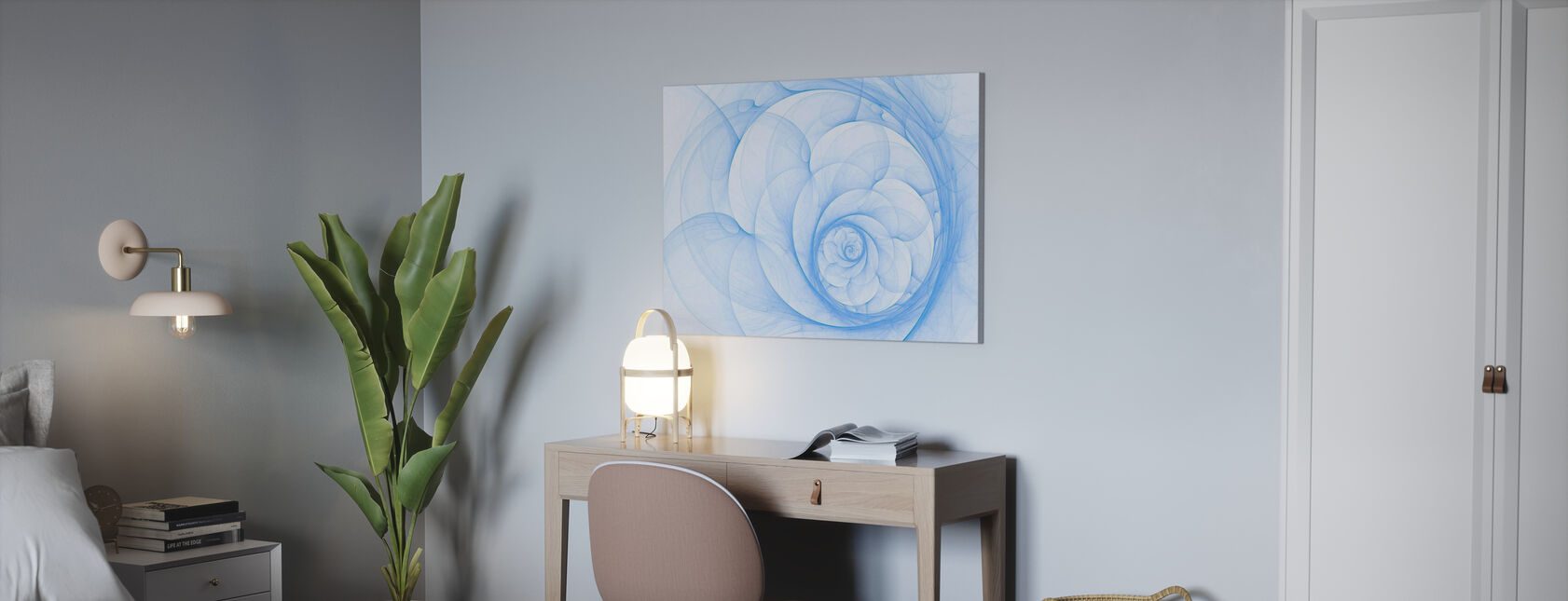Blauwe bloemblad spiraal - Canvas print - Kantoor