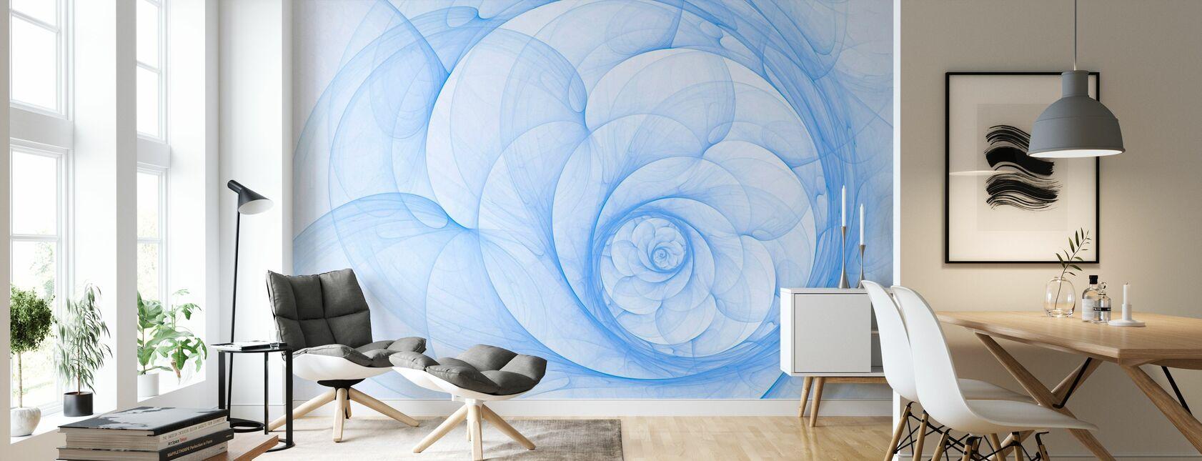 Blaues Blütenblatt Spirale - Tapete - Wohnzimmer