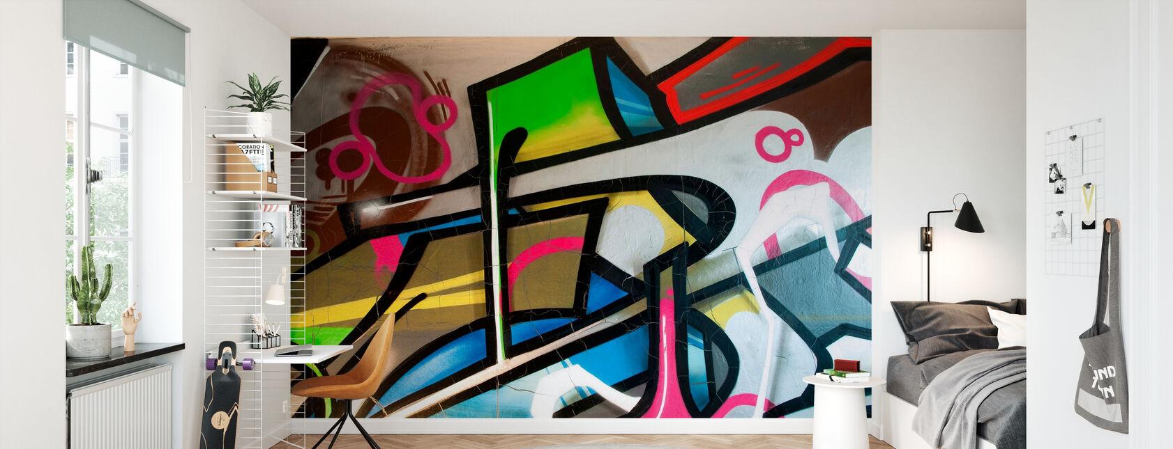 Kleurrijke Graffiti - Behang - Kinderkamer