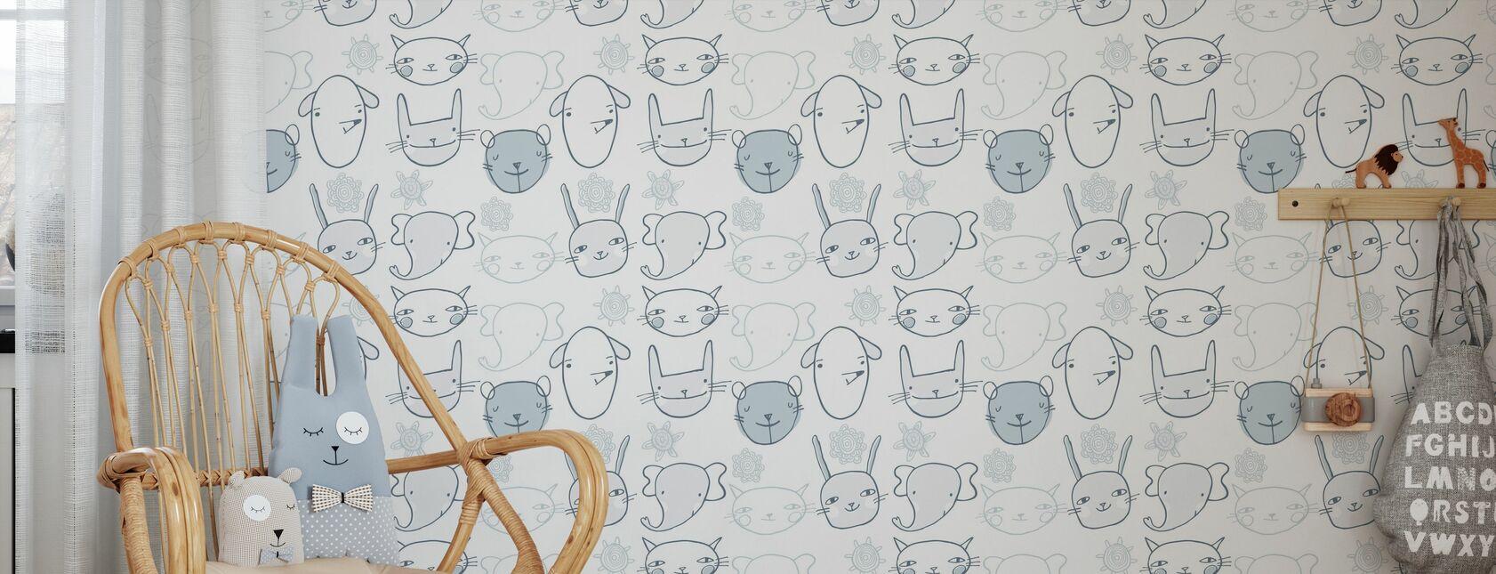 Zwei kleine Ohren - Bleu - Tapete - Kinderzimmer