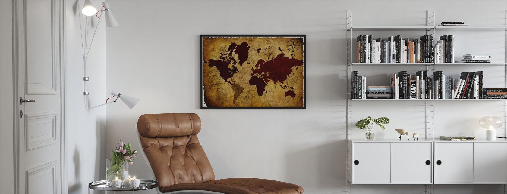Old Manuscript of World Map - Framed print - Living Room