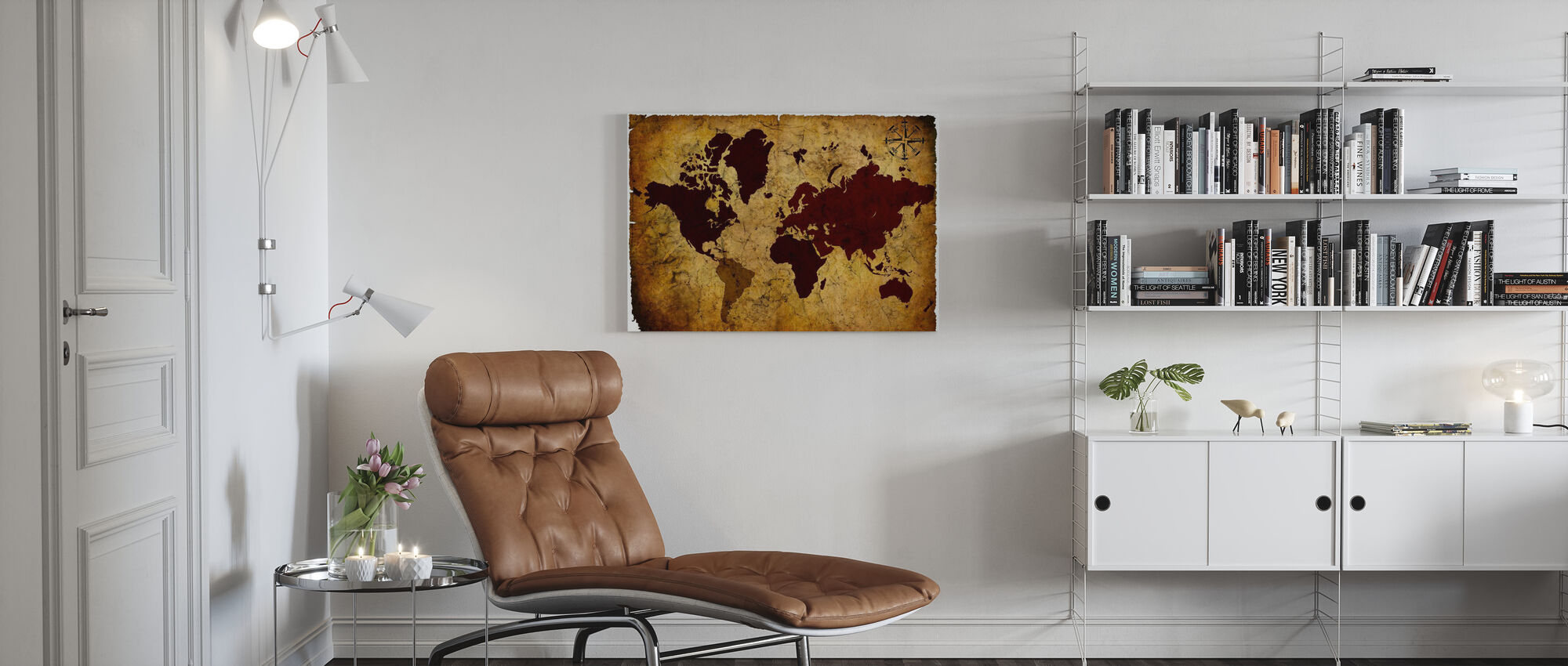 Old Manuscript of World Map - Canvas print - Living Room