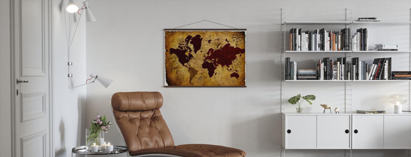 Old Manuscript of World Map - Poster - Living Room