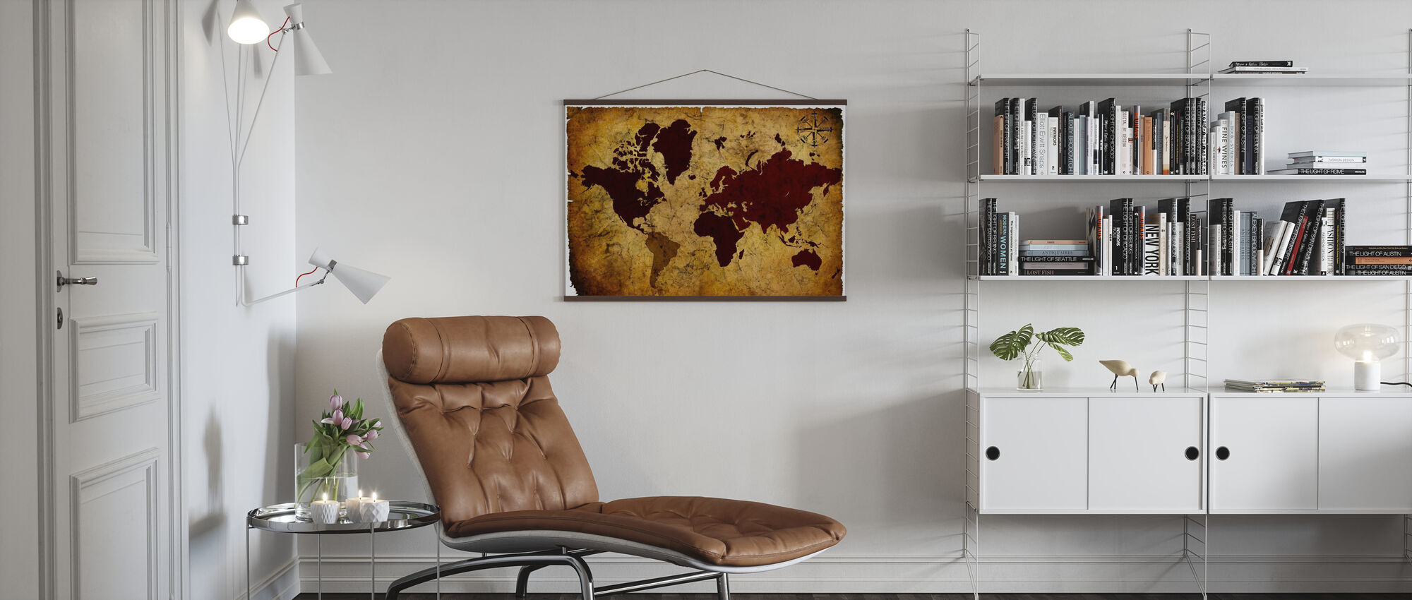 Old Manuscript of World Map - Poster - Living Room