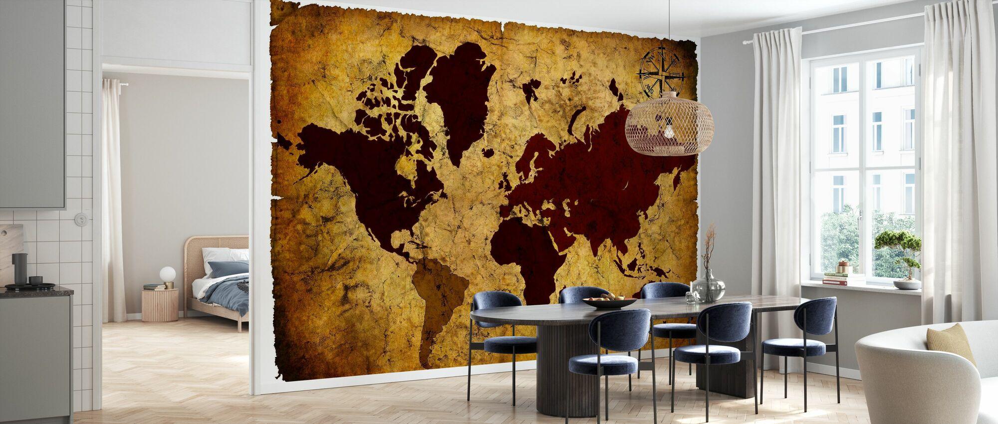 Old Manuscript of World Map - Wallpaper - Kitchen