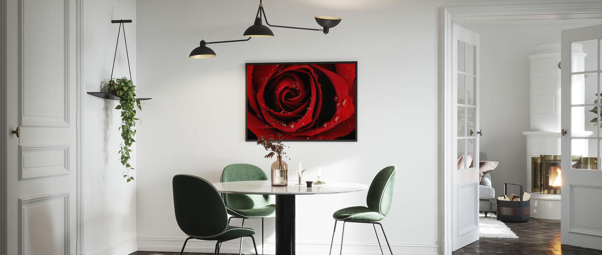 Mørk Rød Rose - Innrammet bilde - Kjøkken
