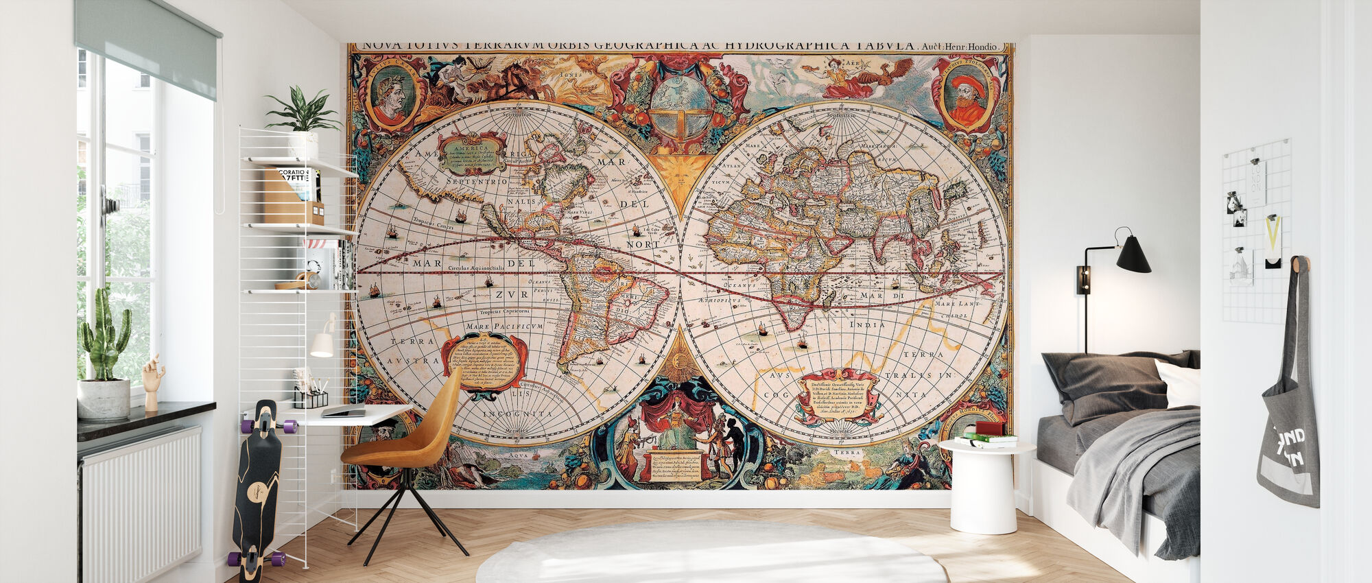 Antique Map - Henricus Hondius 1630 - Wallpaper - Kids Room