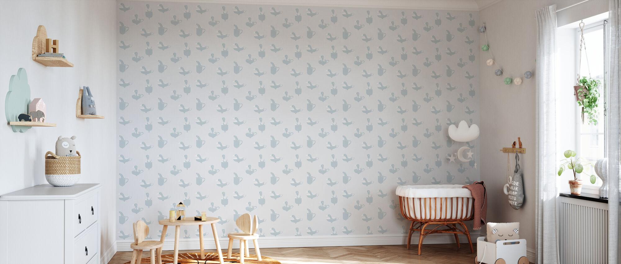 Ducks In Cups - Wallpaper - Nursery