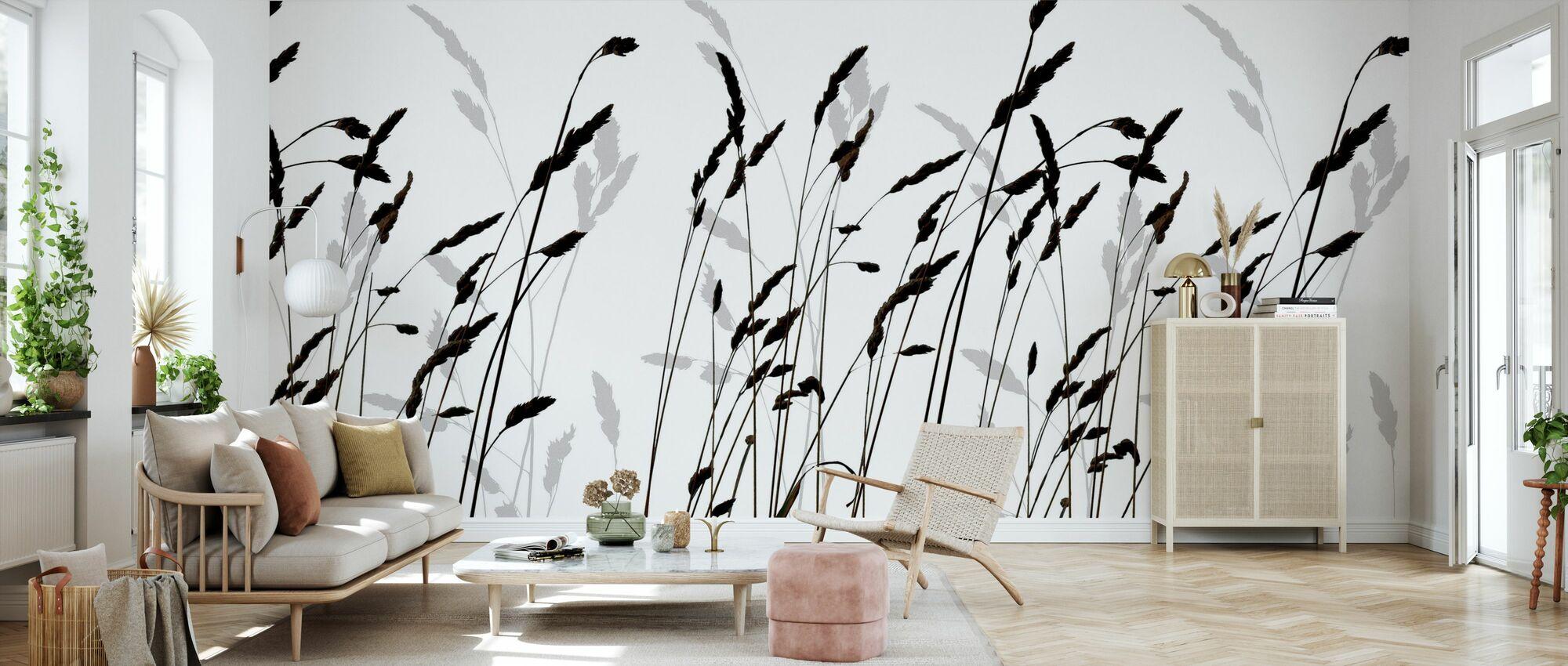 Straw - Black - Wallpaper - Living Room