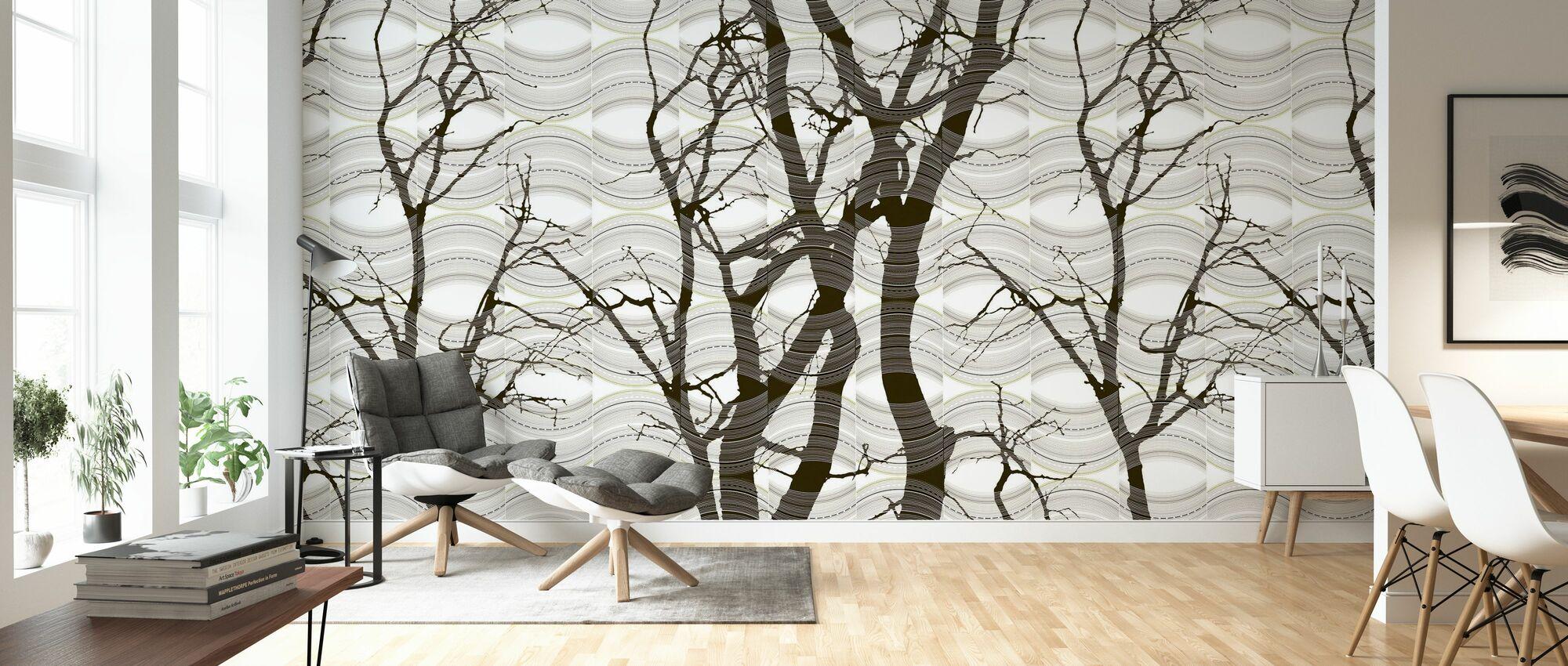Ripple - Braun - Tapete - Wohnzimmer