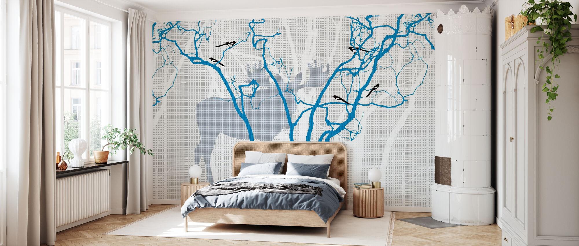 Rhubarbe - Bleu Indigo - Papier peint - Chambre