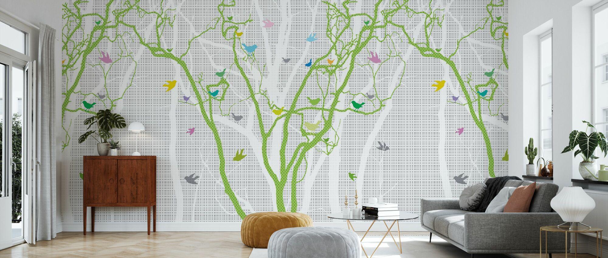 Hide and Seek - Frühlingsgrün - Tapete - Wohnzimmer
