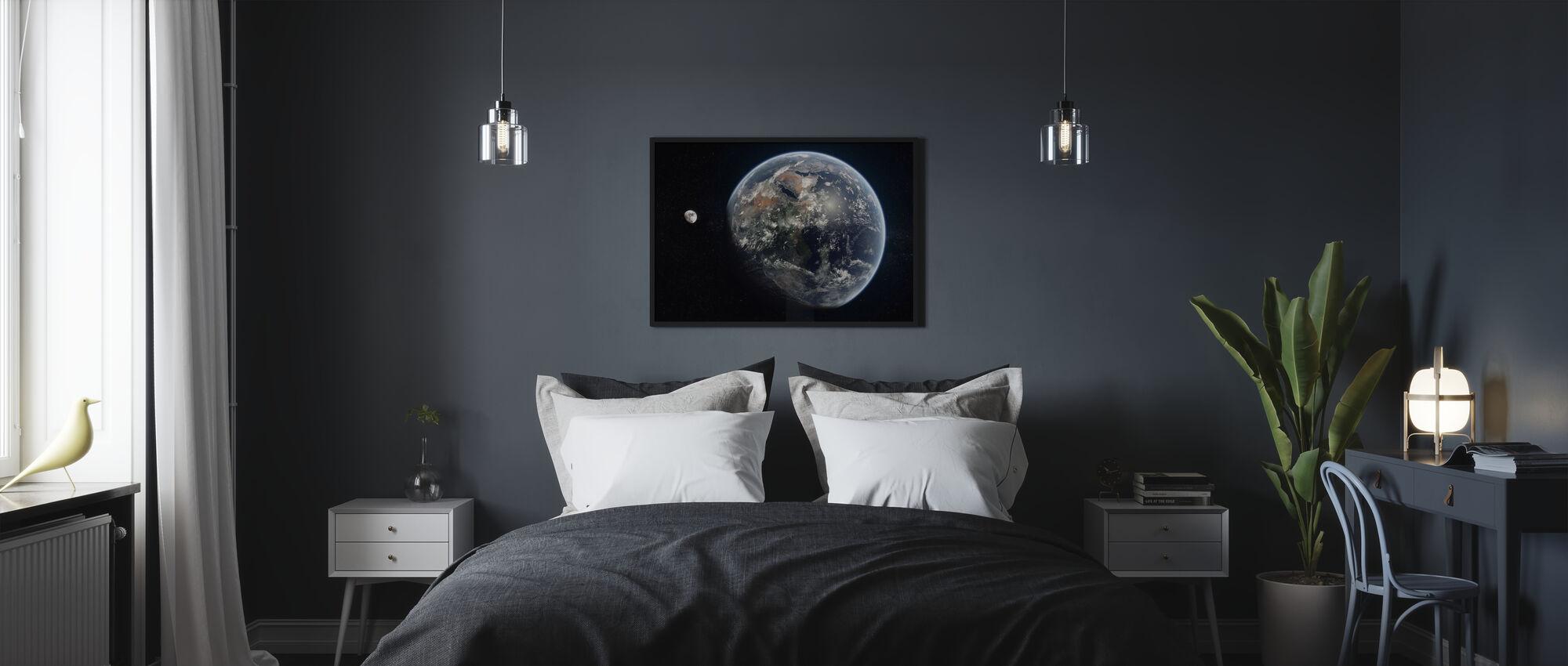 Sininen piste - Peilattu - Juliste - Makuuhuone