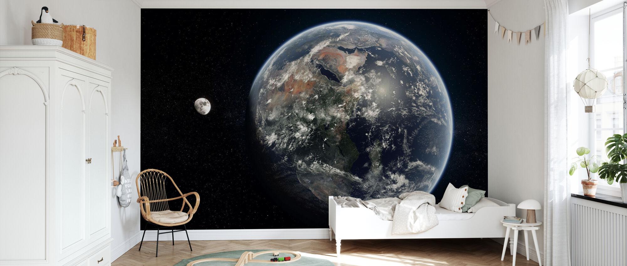 Blue Dot - Mirrored - Wallpaper - Kids Room