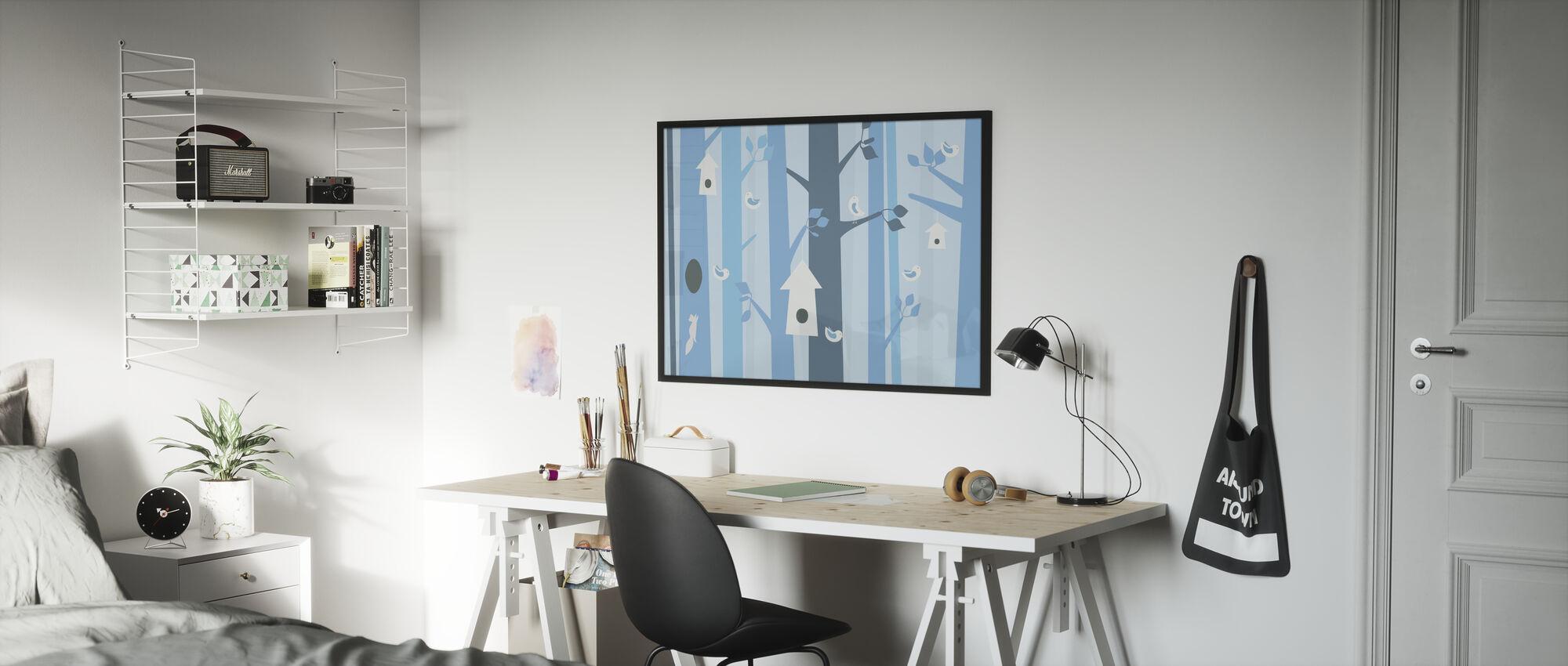 Vogelbos - Blauw - Ingelijste print - Kinderkamer