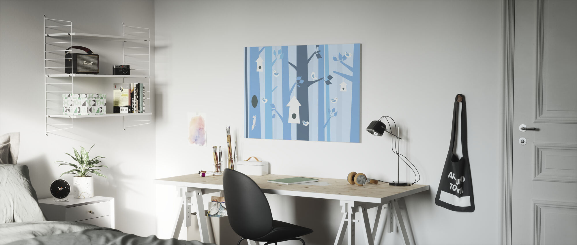 Birdforest - Blue - Canvas print - Kids Room