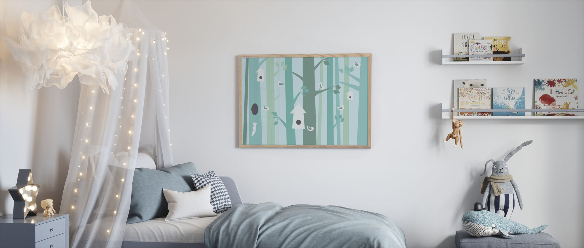 Vogelbos - Groen - Ingelijste print - Kinderkamer