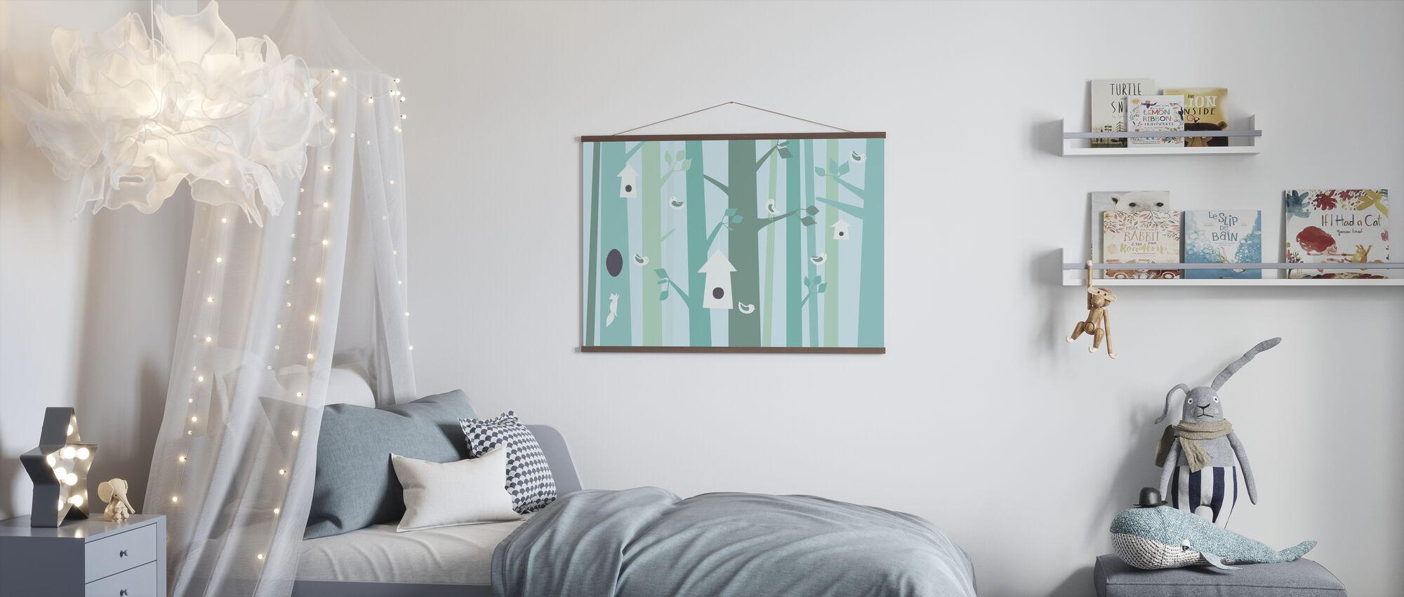 Birdforest - Green - Poster - Kids Room