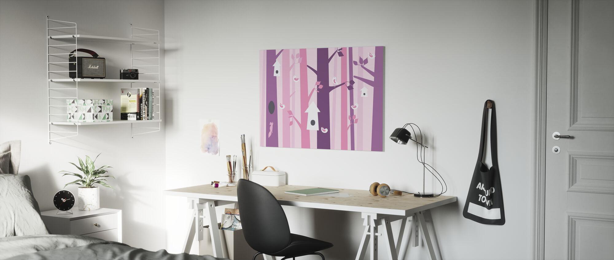 Birdforest - Pink - Canvas print - Kids Room