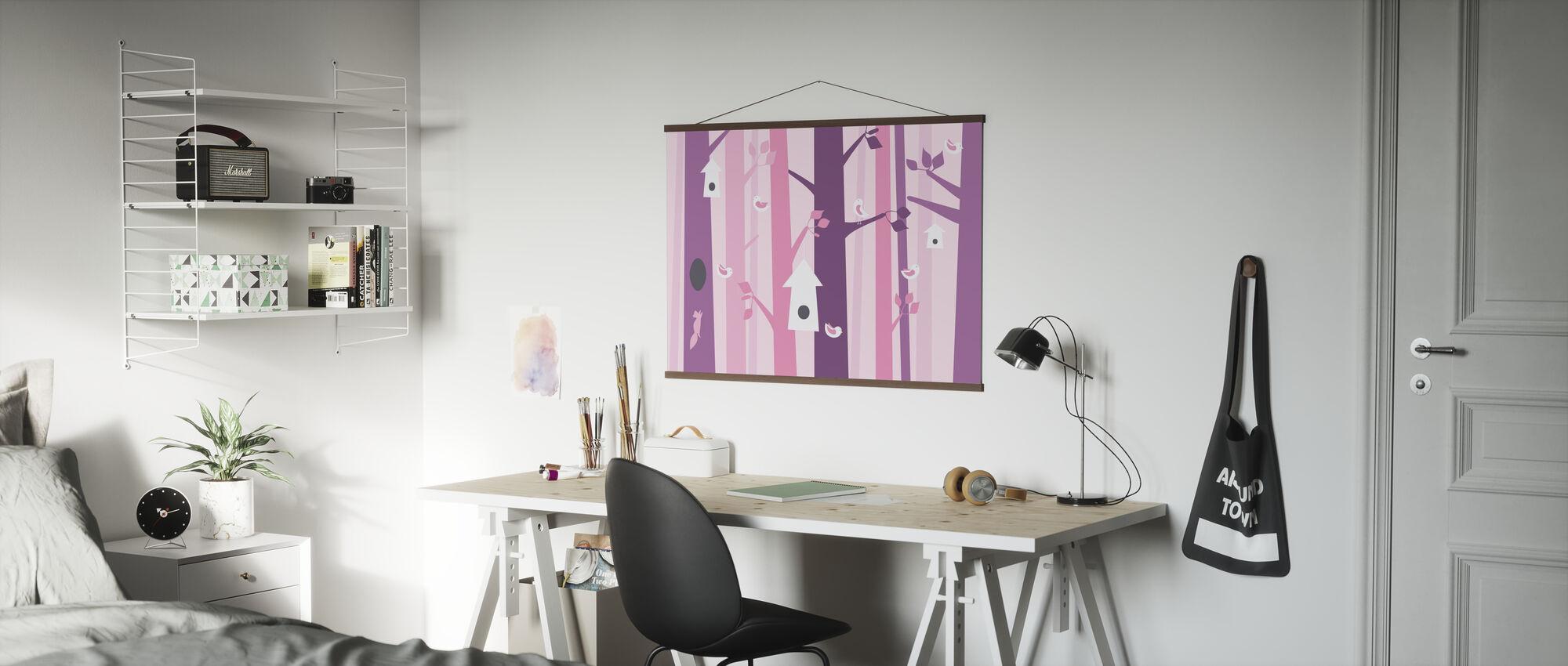 Vogelbos - Roze - Poster - Kantoor